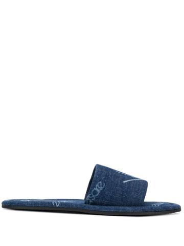Versace Logomania Print Denim Slides - Blue