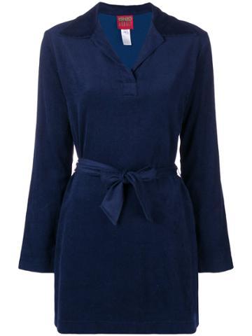 Kenzo Vintage Belted Midi Shirt - Blue