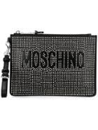 Moschino Studded Clutch, Women's, Black, Calf Leather