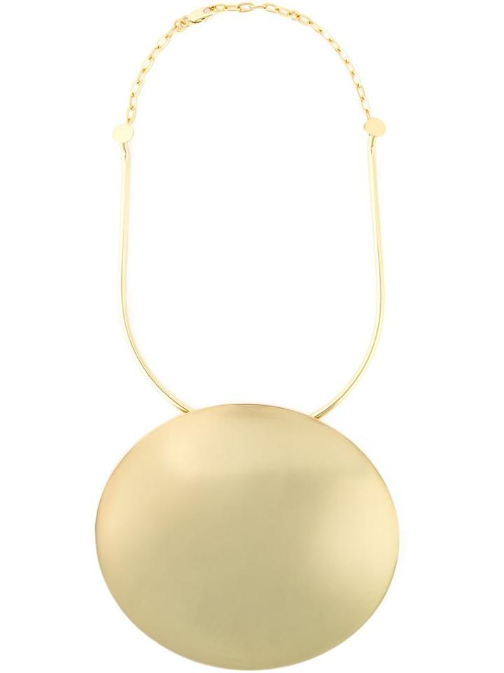 Carven Round Plaque Necklace, Women's, Metallic