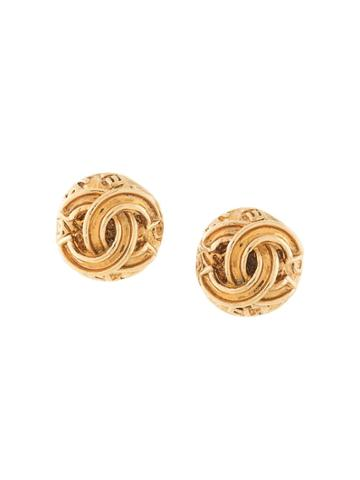 Chanel Pre-owned 1995 Autumn Cc Earrings - Gold