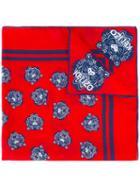 Kenzo Tiger Print Neck Scarf, Women's, Red, Cotton/silk