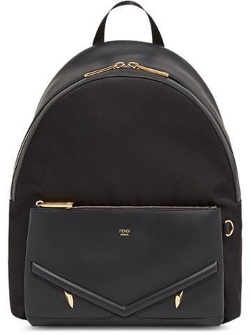 Fendi Large Appliqué Backpack - Black