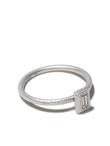 De Beers 18kt White Gold Talisman Diamond Baguette Cut Diamond Ring
