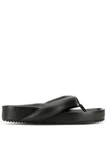 Jil Sander Padded Strap Flip Flops - Black