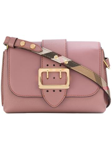 Burberry - Buckled Shoulder Bag - Women - Cotton/calf Leather - One Size, Pink/purple, Cotton/calf Leather