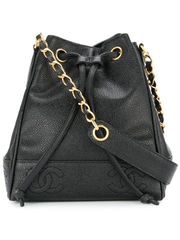 Chanel Vintage Cc Stitch Drawstring Bag - Black