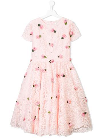 Lesy Flower Applique Dress - Pink & Purple