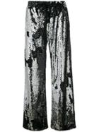 Milly Sequinned Palazzo Pants - Metallic