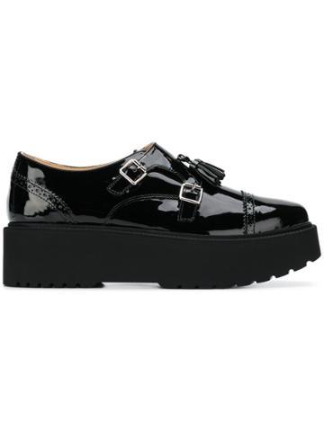 Hogan Platform Sole Monk Shoes - Black