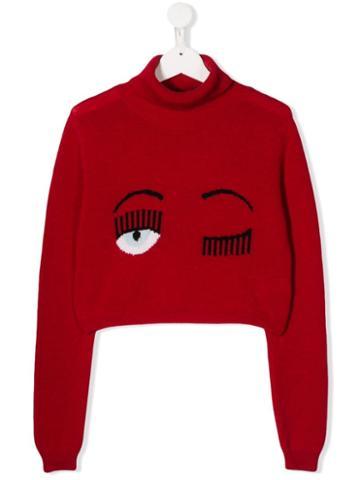 Chiara Ferragni Kids Teen Signature Wink Cropped Jumper - Red