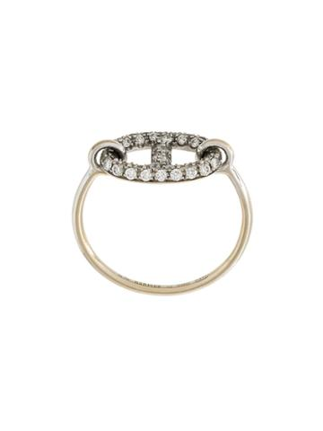 Hermès Vintage Ancre Diamond Ring, Women's, Metallic