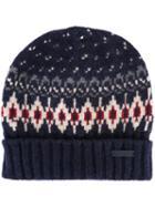 Woolrich Patterned Knit Beanie, Men's, Size: Medium, Blue, Polyamide/wool