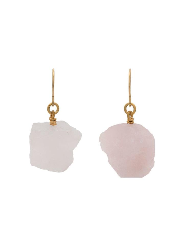 Märta Larsson Rose Quartz Drop Earrings - Pink