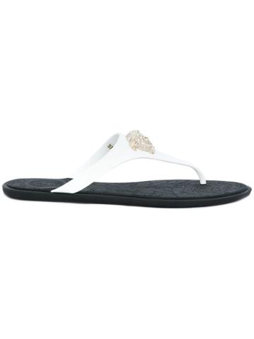 Versace Medusa T-bar Flip Flops - White