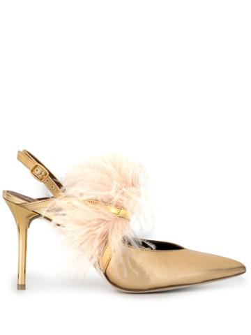 Malone Souliers Gold Agnes 85mm Feather Sling Back