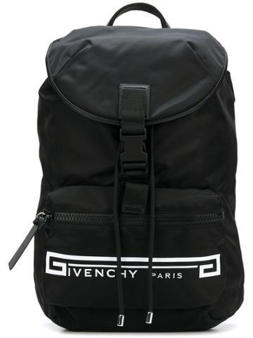 Givenchy Retro Logo Flames Backpack - Black