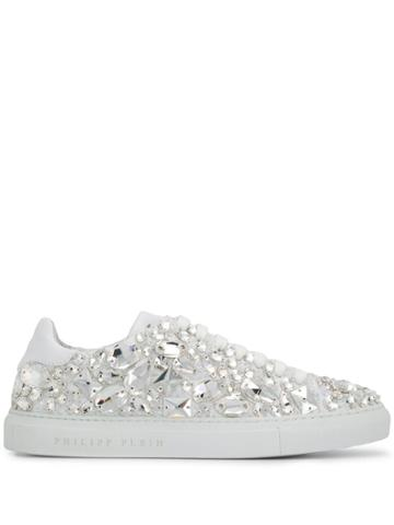 Philipp Plein Lo-top Crystal Embellished Snakers - White