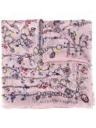 Alexander Mcqueen Heart Chain Scarf, Women's, Pink/purple, Silk