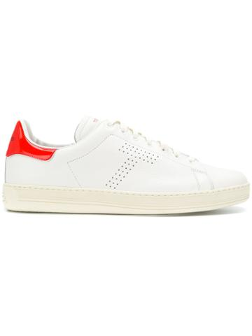 Tom Ford Contrasting Heel Counter Sneakers - White