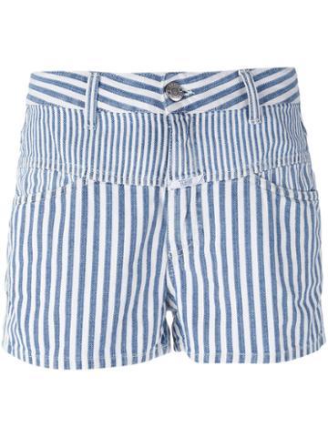 Closed - Striped Shorts - Women - Cotton/linen/flax - 24, Blue, Cotton/linen/flax