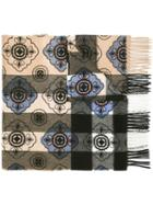 Burberry Floral Pattern Checked Scarf, Women's, Silver, Cashmere