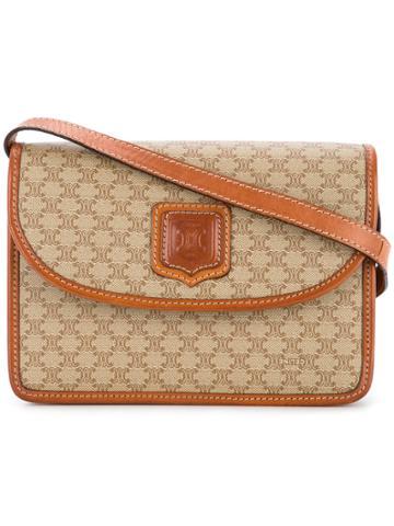 Céline Vintage Macadam Pattern Logo Shoulder Bag - Brown