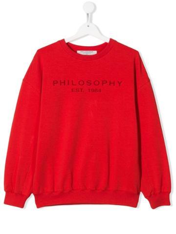 Philosophy Di Lorenzo Serafini Kids Teen Logo Print Sweatshirt - Red