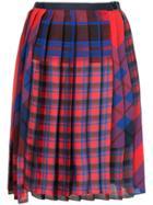 Sacai Pleated Plaid Skirt - Red