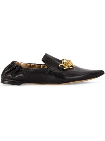 Chloé Chain Trim Slippers - Black