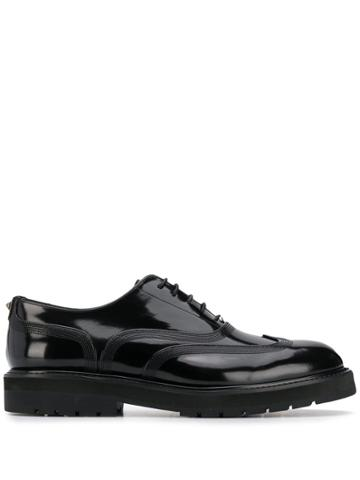 Valentino Embroidered Oxford Shoes - Black