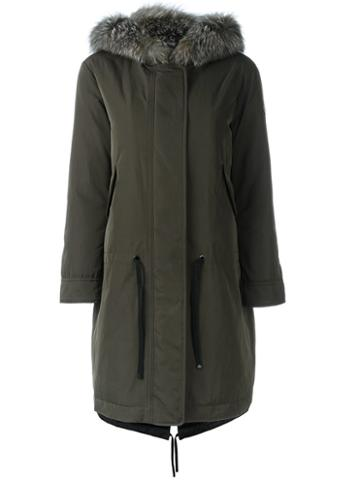 Moncler - 'veronica' Gabardine Coat - Women - Fox Fur/feather Down/polyamide/cotton - 0, Green, Fox Fur/feather Down/polyamide/cotton