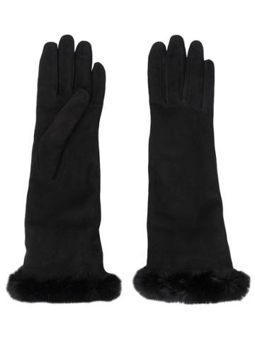 Gala Gloves Mid Length Fur Cuff Glove Black