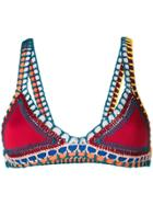 Kiini Embroidered Soley Bikini Top - Multicolour