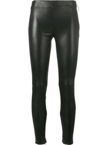 Saint Laurent - Skinny Leggings - Women - Cotton/lamb Skin/spandex/elastane - 36, Black, Cotton/lamb Skin/spandex/elastane