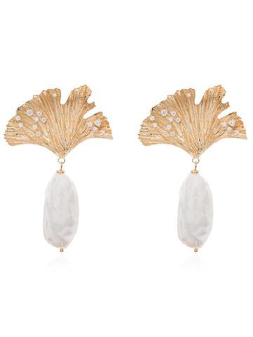 Apples & Figs 24kt Gold Vermeil Love Potion Leaf Pearl Drop Earrings