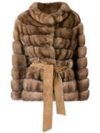 Liska Belted Fur Jacket - Brown
