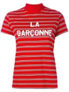 Harmony Paris - Striped High Neck Top - Women - Cotton - L, Women's, Red, Cotton