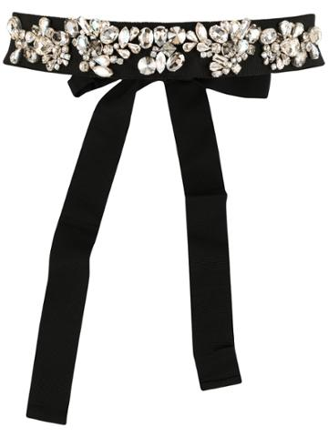 Dice Kayek Crystal Embellished Belt - Black