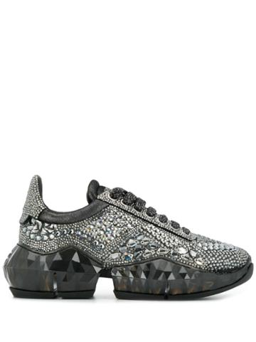 Jimmy Choo Diamond Crystal Embellished Sneakers - Black
