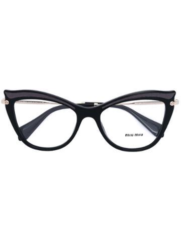 Miu Miu Eyewear - Cat Eye Glasses - Women - Acetate/metal - 53, Black, Acetate/metal