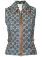 Céline Vintage Patterned Vest - Blue