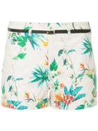 Loveless Tropical-print Belted Shorts - Pink & Purple