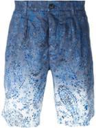 Etro Gradient Paisley Print Shorts, Men's, Size: 46, Blue, Linen/flax