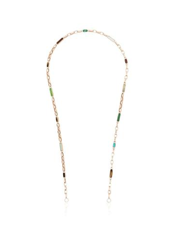 Marla Aaron 14kt Gold All Inlay Chain Necklace - Multicoloured