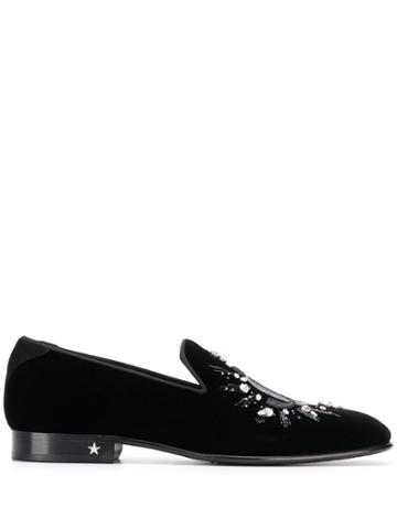 Jimmy Choo Thame Velvet Crystal-embellished Slippers - Black