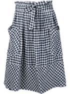Sea Gingham Midi Skirt