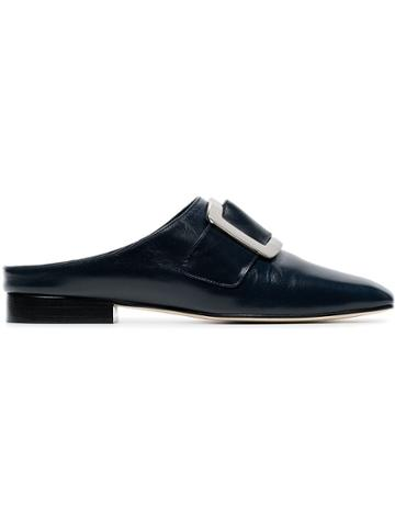 Dorateymur Navy Blue Han Buckled Leather Loafers