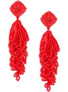 Sachin & Babi Beaded Chandelier Earrings - Red