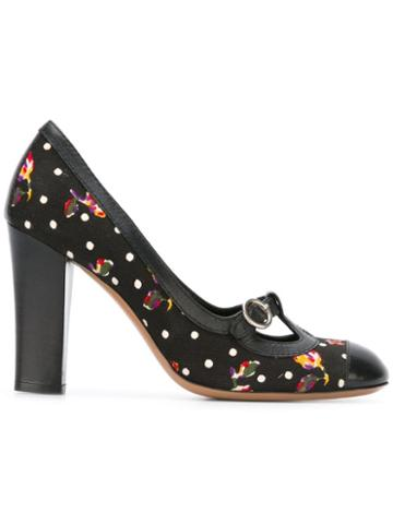 Moschino Pre-owned Floral Polka Dot Pumps - Black